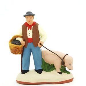 Le ramasseur de truffes - santon de Provence peint à la main