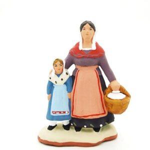 santon peint à la main femme et fille