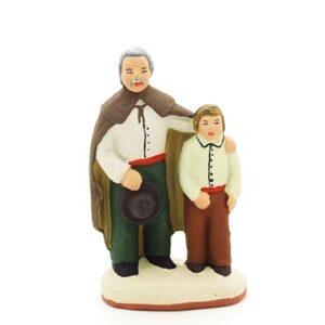 Aveugle et enfant santon peint main