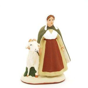 santon peint à la main femme et sa chèvre