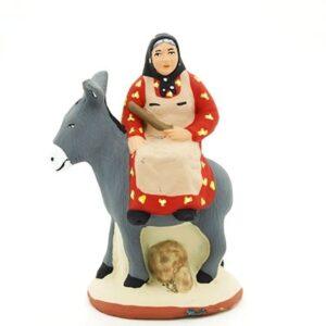 femme et son âne santon de provence peint à la main