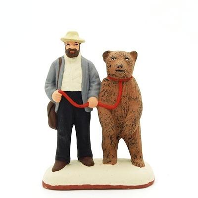 santon de provence l'homme et l'ours peint à la main