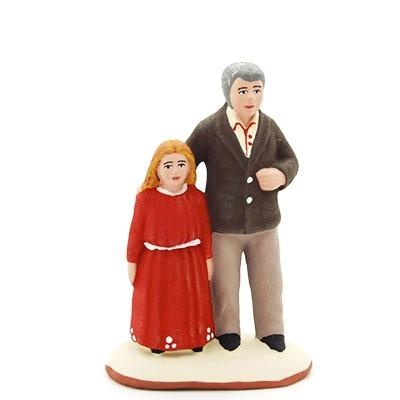 santon de provence peint à la main papa et sa fille