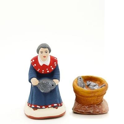 rinceuse de poisson santon de Provence peint à la mains