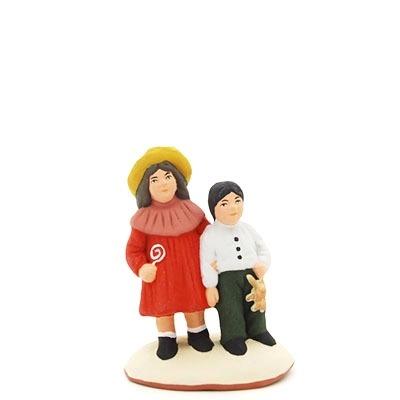 santon de provence peint à la main couple d'enfants