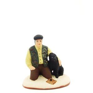 santon de provence peint à la main truffier avec son chien