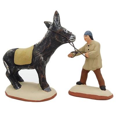 meunier et son ane recalcitrant santon de provence peint à la main