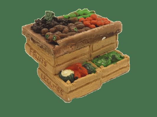 Décors crèche étal cagettes kiwis et poires