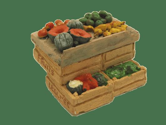 Décors crèche étal cagettes melons