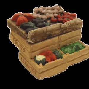 Décors crèche étal cagettes tomates et aubergines