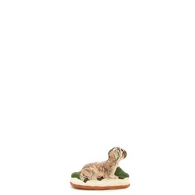 santon de provence peint a la main chien couché