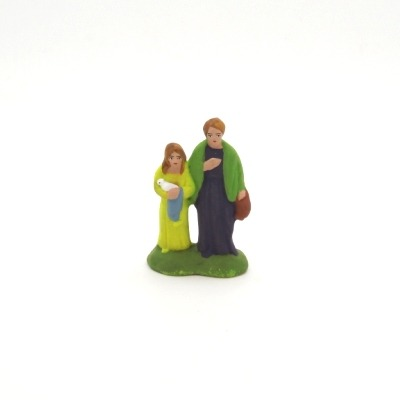 Santon puce la femme et l'enfant au mouton