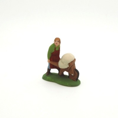 Mini santon de Provence le meunier à la brouette