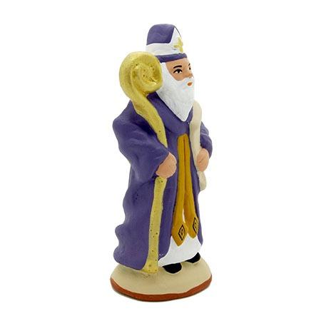 Santon saint nicolas violet dos coté